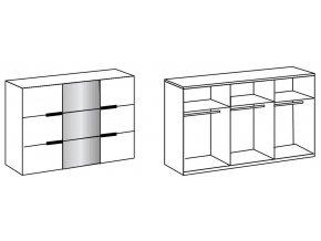 Šatní skříň s posuv. dveřmi KOLOMAN 859 dub artisan/grafit