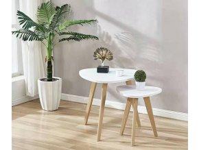 AURA SET konferenční stolky 2 ks bílá/buk
