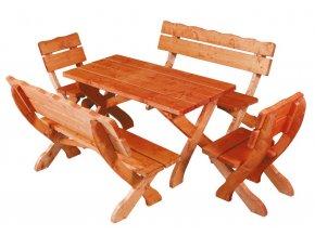 OM-105 zahradní sestava (1x stůl + 2x lavice + 2x křeslo) výběr barev