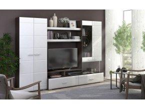 Obývací stěna VEGAS 1 wenge/bílá lesk