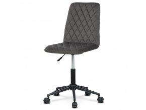 Kancelářská židle dětská, potah šedá sametová látka, výškově nastavitelná