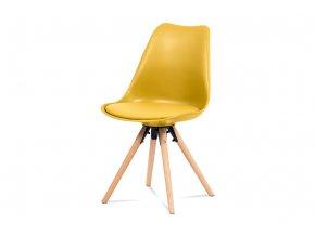 Jídelní židle, žlutý plast+ekokůže, nohy masiv buk + rám černý kov