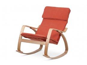 Houpací relaxační křeslo, potah látka terracotta, ohýbaná překližka, moření v přírodním odstínu