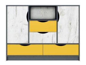 Komoda 2D4S DISNEY dub kraft bílý/šedý grafit/žlutá