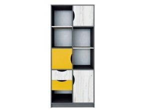 Skříň policová 3D2S DISNEY dub kraft bílý/šedý grafit/žlutá