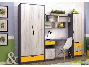 Sestava DISNEY dub kraft bílý/šedý grafit/žlutá