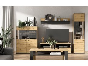 Obývací sestava TOPRI SET1 (2x vitrína, tv stolek, police) dub artisan/černá