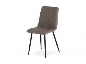 Jídelní židle, potah šedohnědá ekokůže v dekoru kůže, kovová čtyhřnohá podnož, černý lak