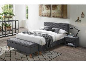 Čalouněná postel AZURRO VELVET 140x200 šedá/dub