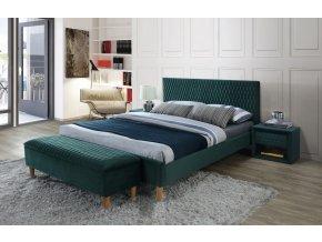 Čalouněná postel AZURRO VELVET 140x200 zelená/dub