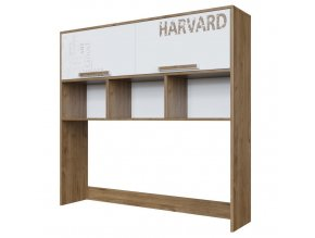Nádstavec na PC stůl HARVARD dub hickory/bílá/potisk