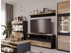 Obývací sestava BAXTER SET1 (2x vitrína, tv stolek, police) černá/dub versal