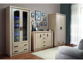 Obývací sestava DALLAS SET 1 (skříň, komoda, vitrína) dub sonoma