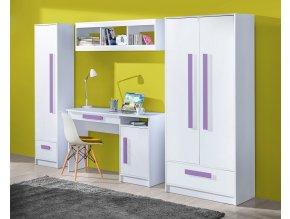 Dětský pokoj GULLIWER bílá lesk/fialová