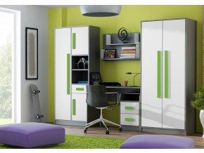 Dětský pokoj GYT antracit/bílá/zelená