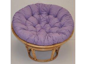 Ratanový papasan 110 cm medový polstr fialový melír