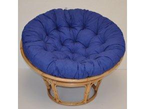Ratanový papasan 110 cm medový polstr tmavě modrý melír