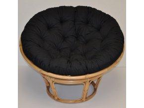 Ratanový papasan 110 cm medový polstr černý kepr