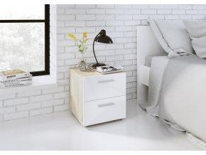 Noční stolek Pedro 500 sonoma/bílá lesk