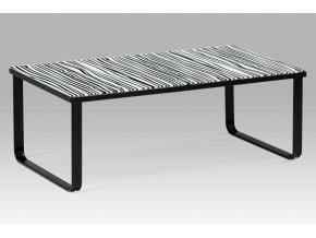 """Konferenční stolek 105x55x38 cm, sklo s potiskem """"zebra"""" / černá"""