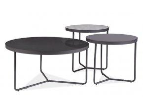 Sada konferenčních stolků 3 ks ARTEMIDA světle šedá/tmavě šedá/černá