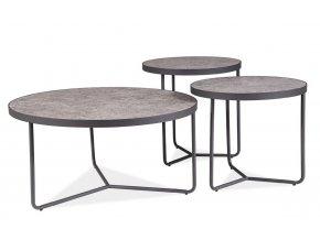 Sada konferenčních stolků 3 ks DEMETER beton/černá mat
