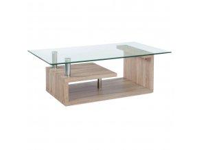 (AF-2028) konferenční stolek, čiré sklo / Sonoma