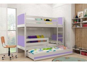 Patrová postel s přistýlkou Tami bílá/fialová