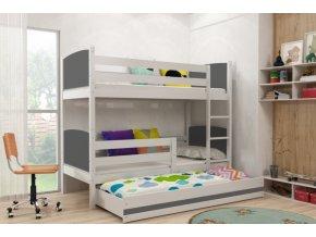 Patrová postel s přistýlkou Tami bílá/grafit