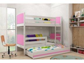 Patrová postel s přistýlkou Tami bílá/růžová