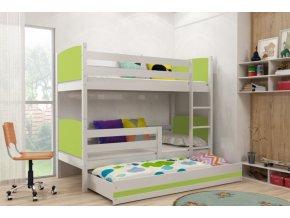 Patrová postel s přistýlkou Tami bílá/zelená