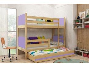 Patrová postel s přistýlkou Tami borovice/fialová