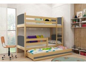 Patrová postel s přistýlkou Tami borovice/grafit