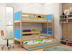 Patrová postel s přistýlkou Tami borovice/modrá