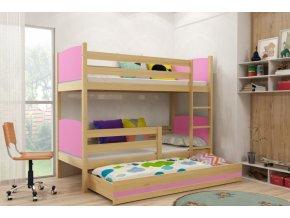 Patrová postel s přistýlkou Tami borovice/růžová