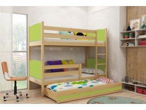Patrová postel s přistýlkou Tami borovice/zelená