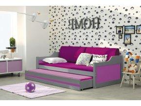 Pohovka David grafit/fialová