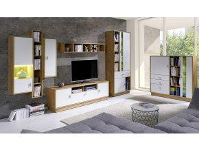 Obývací stěna Patrik 1 dub lefkas/bílá