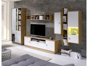 Obývací stěna Patrik 2 dub lefkas/bílá