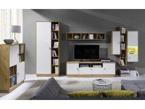 Obývací stěna Patrik 3 dub lefkas/bílá