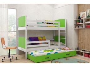 Patrová postel s přistýlkou Tamita bílá/zelená