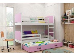 Patrová postel s přistýlkou Tamita bílá/růžová