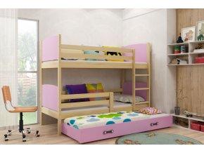 Patrová postel s přistýlkou Tamita borovice/růžová