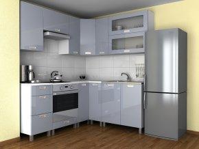 Rohová kuchyňská linka Grepolis MDR šedý lesk