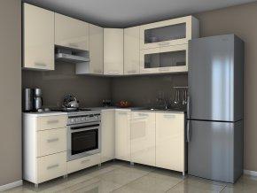 Rohová kuchyňská linka Grepolis MDR jasmín lesk