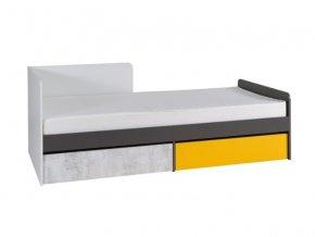 Postel s matrací Bruce R7 90x200 levá bílá/grafit/enigma/žl.