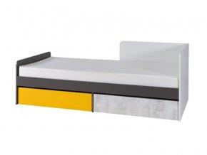 Postel s matrací Bruce R7 90x200 pravá bílá/grafit/enigma/žl.