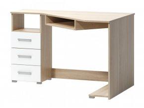 Rohový psací stůl Fatra 17 levý dub sonoma/bílá