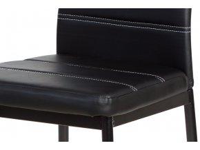 Jídelní židle - černá ekokůže s bílým prošitím, kovová podnož, černý matný lak