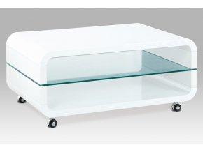 Konferenční stolek 90x60x40, bílý vysoký lesk, sklo, kolečka, AHG-611 WT